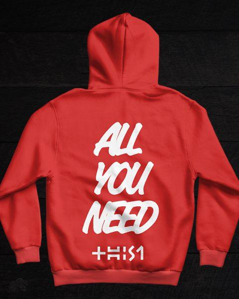 red hoodie behind
